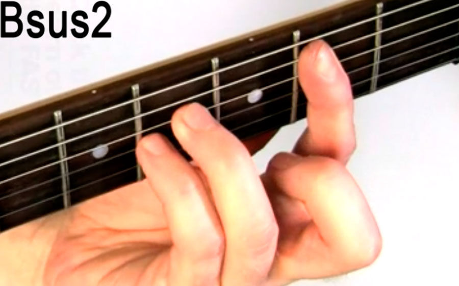 How To Play Bsus2 B Suspended Second Chord On Guitar Video And